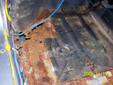Body Work Required: Rust Repair, Drivers Side Floor Pan - Close View