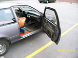General Passenger Side View - Carpet Removed and Rolled up - Stuffed in Two Large Leaf Bags